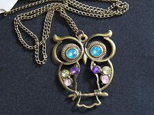 10pcs Necklace Owl Pendant Antique Bronze Rhinestone Long Sweater Chain Gift NEW