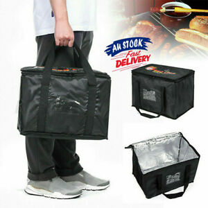 50L Food Delivery Insulated Bags Pizza Thermal Takeaway Warm/cold Bag Ruck Black