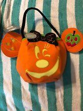 2018 Disney Store Minnie Mouse Halloween Pumpkin Glow In Dark Trick or Treat Bag