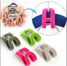 12pcs Mini Flocking Clothes Hanger Conector Hook Closet Organizer Space Saver