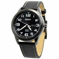Seiko Men's Solar Black Dial Watch - SNE477P1 NEW