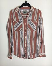 Asos Terracotta Striped Oversize Shirt Size 8 - (B14)