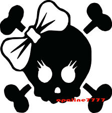 STICKER AUTOCOLLANT TETE DE MORT CASQUE SKULL BIKER GIRL MOTARDE MOTO SCOOTER