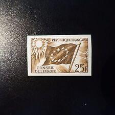 SERVICE N°19 ESSAI COULEUR MARRON TIMBRE NON DENTELÉ PROOF 1959 NEUF ** LUXE MNH