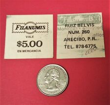 $5 Good For Mercancia FILANUMIS Stamp Coin ARECIBO Puerto Rico 1980 CANCELLED
