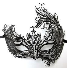 Black Bird of Paradise Crystal Laser Cut Venetian Masquerade Metal Filigree Mask