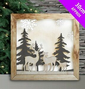 Led Wall / Free Standing Nordic Elf Wood Picture With Led Back Lights