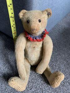 "RARE ANTIQUE Circa 1910 STEIFF Once White Blond TEDDY BEAR  10"" FF Long f Button"