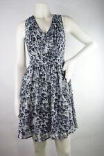 Lavender Brown V-Neck Backless Print A-Line Mini Dress Size S NWT