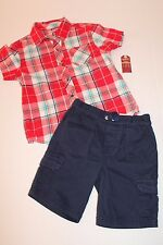 Arizona Navy Blue Cargo Shorts & Red Plaid Shirt Outfit Toddler Boy Size 4T NEW