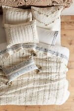 Anthropologie TURI Pillow Shams STANDARD Quilted Cotton Ivory Embroidered NWT