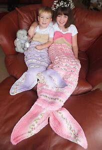 KNITTING PATTERN (PAPERS ONLY) TO MAKE TITANIA MERMAID TAIL COCOONS IN 3 SIZES.