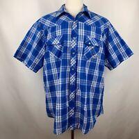 Vtg Wrangler Wrancher Blue Plaid Cowboy Western Pearl Snap Short Sleeve Shirt 2X