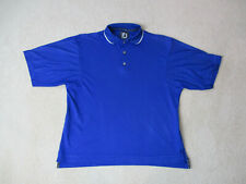 Footjoy Golf Polo Shirt Adult Large Blue White Lightweight Golfer Mens A87*