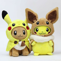 Pokemon Center Eevee Pikachu Poncho Plush Doll Figure Stuffed Cute Hat Toy Gift