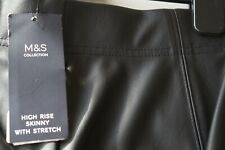 MARKS AND SPENCER LEATHER LOOK HIGH RISE SKINNY JEANS / TROUSERS Size 16 Short