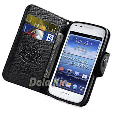 For Samsung Galaxy S Duos 2, S7580 S7582 Black Leather Wallet Case Cover