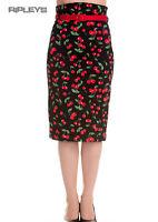 HELL BUNNY 50s Rockabilly Pencil Skirt CHERRY POP Black All Sizes