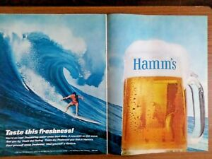 1965 Hamm's Beer Ad Taste this Freshness Surfing Theme