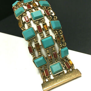 New LUCKY BRAND Faux Turquoise Stone Flex Statement BRACELET Wide Gold PL RR53o