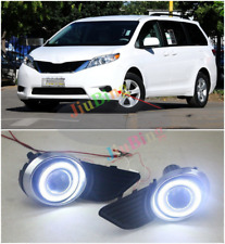 For Toyota Sienna 2011-2017 Fog Light Lamp Kit + COB Angel Eye Bumper Cover Lens