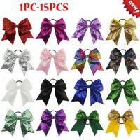 14PCS/1PC Full Sequin Bling Cheer Hair Bow Elastic Band Cheerleading Baby Girl K