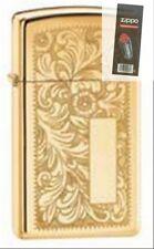 Zippo 1652b venetian slim brass Lighter + FLINT PACK