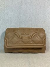 Auth Tory Burch Small Fleming Soft Quilted Leather Clutch in Tiramisu