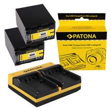 2x Batteria Patona + caricabatteria USB dual per Sony DCR-SR72,DCR-SR75,DCR-SR77