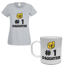 HASHTAG NUMBER ONE DAUGHTER - Family / Gift / Funny Women's T-shirt & Mug Set