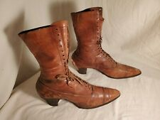 Womens Antique Victorian Boots, Lace Up, Brown Leather.