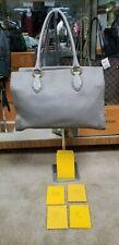 Fendi gray leather satchel Selleria cuoio Romano purse Argento Legno