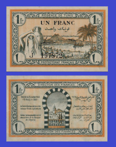 Tunisia Tunis 1 francs 1943 UNC - Reproduction