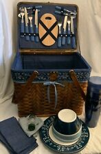 Wicker Picnic Basket Eddie Bauer 31 pc Handled Blue Fabric Service Set Up for 4