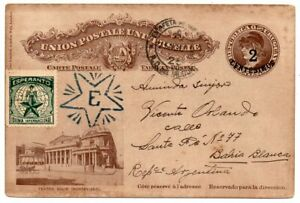 1918 URUGUAY TO ARGENTINA STATIONERY COVER, RARE ESPERANTO CINDERELLA