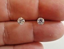 14K SOLID YELLOW GOLD STUD EARRINGS W/ .50 CT FLAWLESS DIAMONDS/ 5MM IN DIAMETER
