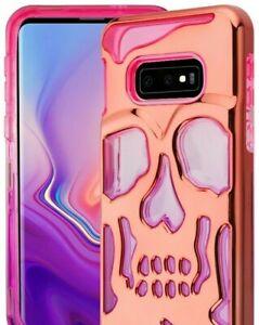 "For Samsung Galaxy S10e (5.8"") - Hybrid Hard Armor Case Rose Gold Pink Skull"