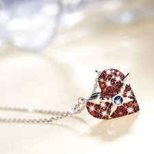 18K WHITE GOLD MADE WITH RED SWAROVSKI CZ LOVE HEART PENDANT NECKLACE