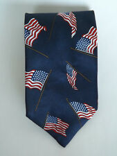 AMERICA BRAND Patriotic Navy Blue with American Flags Neck Tie Made in USA NWT