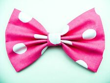 FABRIC HAIR BOW W/Alligator Clip* Big Polka Dots on Pink *Handmade*FREE SHIPPING