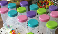 20 Pill Bottle Jars Pink Aqua Purple Lime Caps Doc McStuffins #3814 DecoJars USA