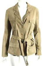 ARMANI COLLEZIONI Beige Suede Button-Front Belted Jacket 46