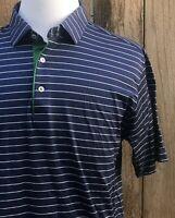 Peter Millar Blue Striped 100% Cotton Men's Polo Short Sleeve T-Shirt Size Large