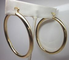 14 Karat Gold Plated 2 Inch Large Thick Lightweight Hoop Earring