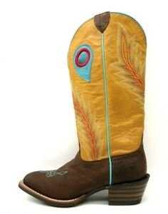 Ariat ATS Brown Leather Embroidered Feather Cowboy Western Boots Women's 8 B