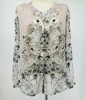 Milano Womens Sheer Button Up Floral Print Blouse EUC Size Medium
