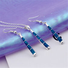 Pendant Blue Opal Jewelry Gifts Fashion Fire Women Necklace Earrings Set