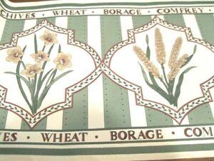 Wallpaper Border Kitchen Botanical Herbs Flowers Green Stripe Country EH00171