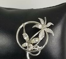 with a butterfly crystal Brooch. Ladies Vintage Silver Plated flower