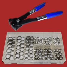 170 tlg 1 Ohr Schellen 5,8-21mm Sortiment+Schlauchklemmen zange Schlauchschellen